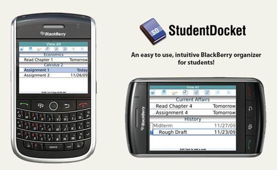 StudentDocket - Blackberry organizer for Students