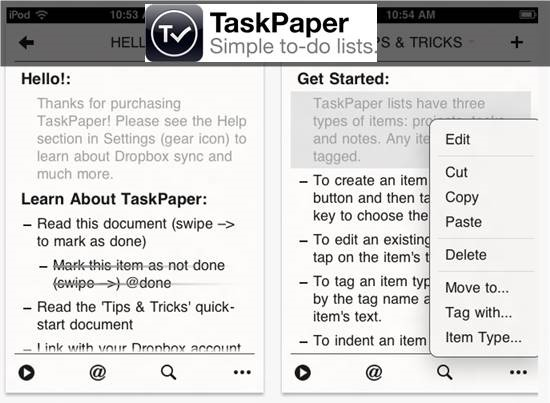 Taskpaper simple - to do list apps for iPhone