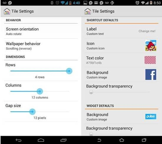 Tile Launcher for android 5