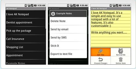 AK Notepad 21 useful Android Productivity Apps