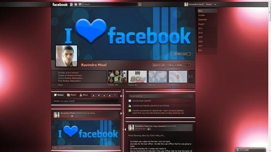 dark red shiny timeline theme for facebook