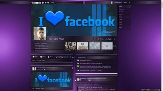 dark shiny purple transparent theme for facebook timeline