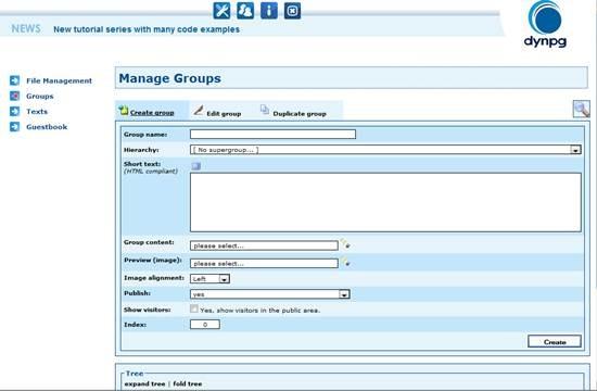 DynPG - free PHP and MySQL based CMS