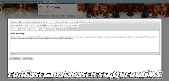 editEase databaseless jQuery cms