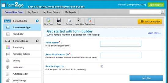 form2go online form builder