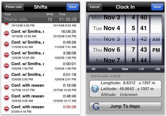 iPunchclock location-aware time tracker