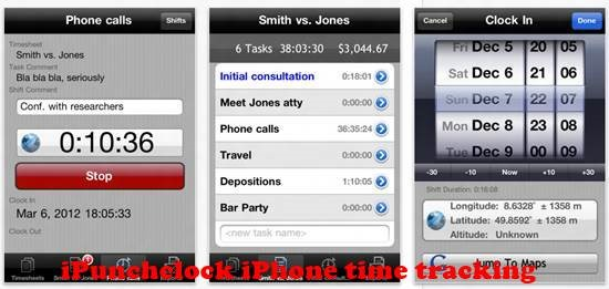 iPunchclock iPhone Time tracking Apps