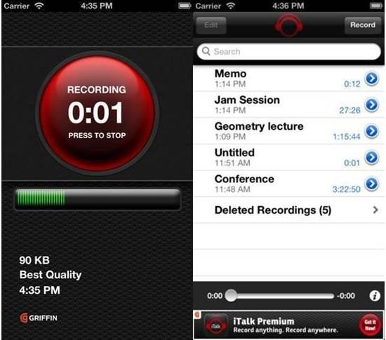 iTalk Recorder dictation apps