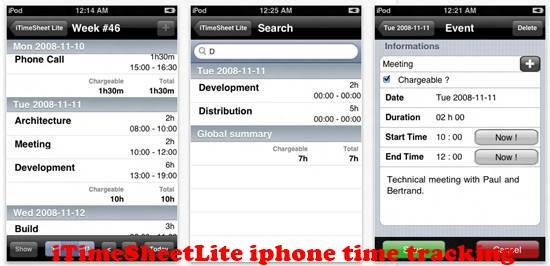iTimeSheetLite iPhone Time tracking Apps