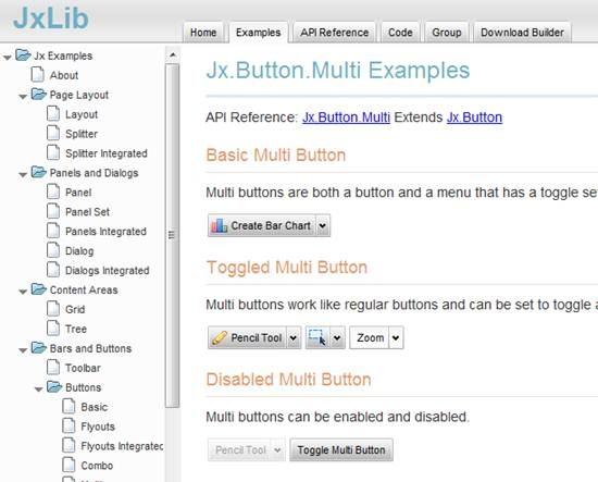 JxLib - JavaScript web GUI interface toolkit