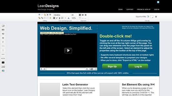 lean design web design tool