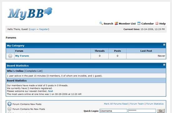 MyBB - free PHP and MySQL based discussion board