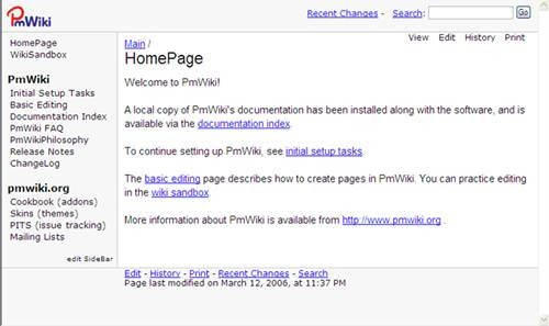 pmwiki open source wiki software for Teams