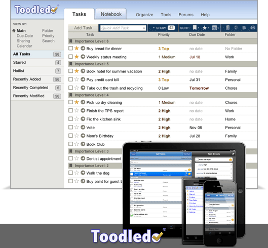 toodledo - to do list apps for iPhone