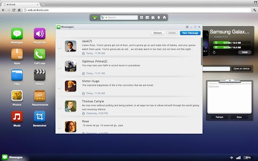 AirDroid for Android - Manage and Control Android Device from Web Browser