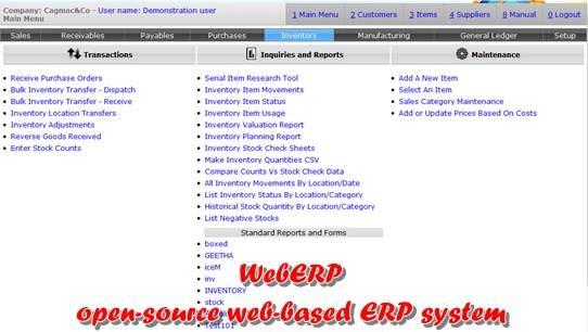 weberp - open source web based ERP system